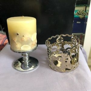 candle holder 2 and small shell candle